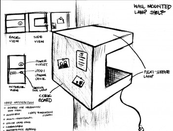 We then created gallery sketches of our more promising ideas to further flush them out.  Sketch by A.Halaby and B.Yi
